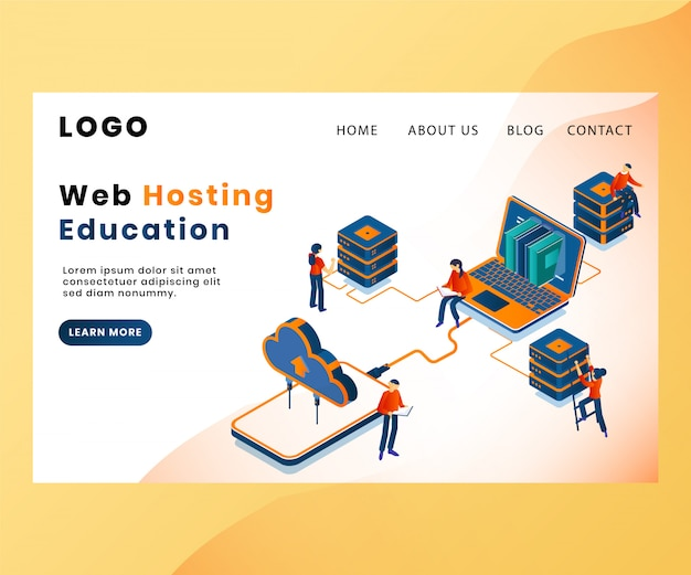 Landing page template with artwork concept of web hosting