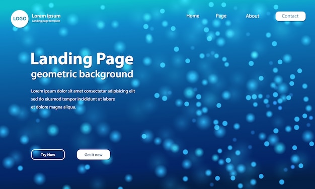 Landing page template with blurred particle wave