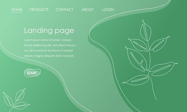 緑の背景に枝の葉を持つランディングページテンプレート。ウェブサイトの開発のためのシンプルな熱帯植物デザインベクトルイラストコンセプト。ベクトルイラスト