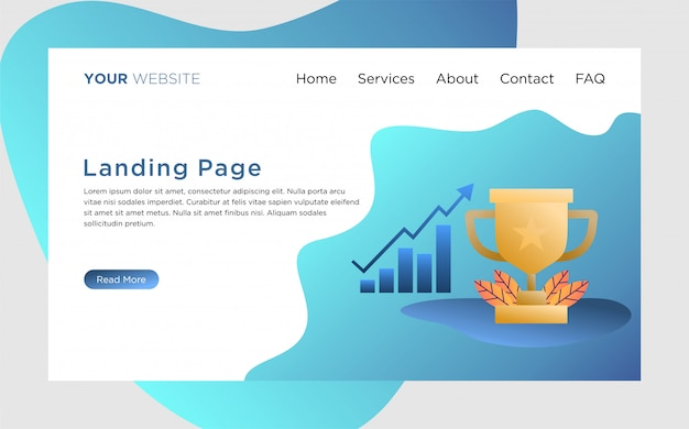 Landing page template with business achievement illustration