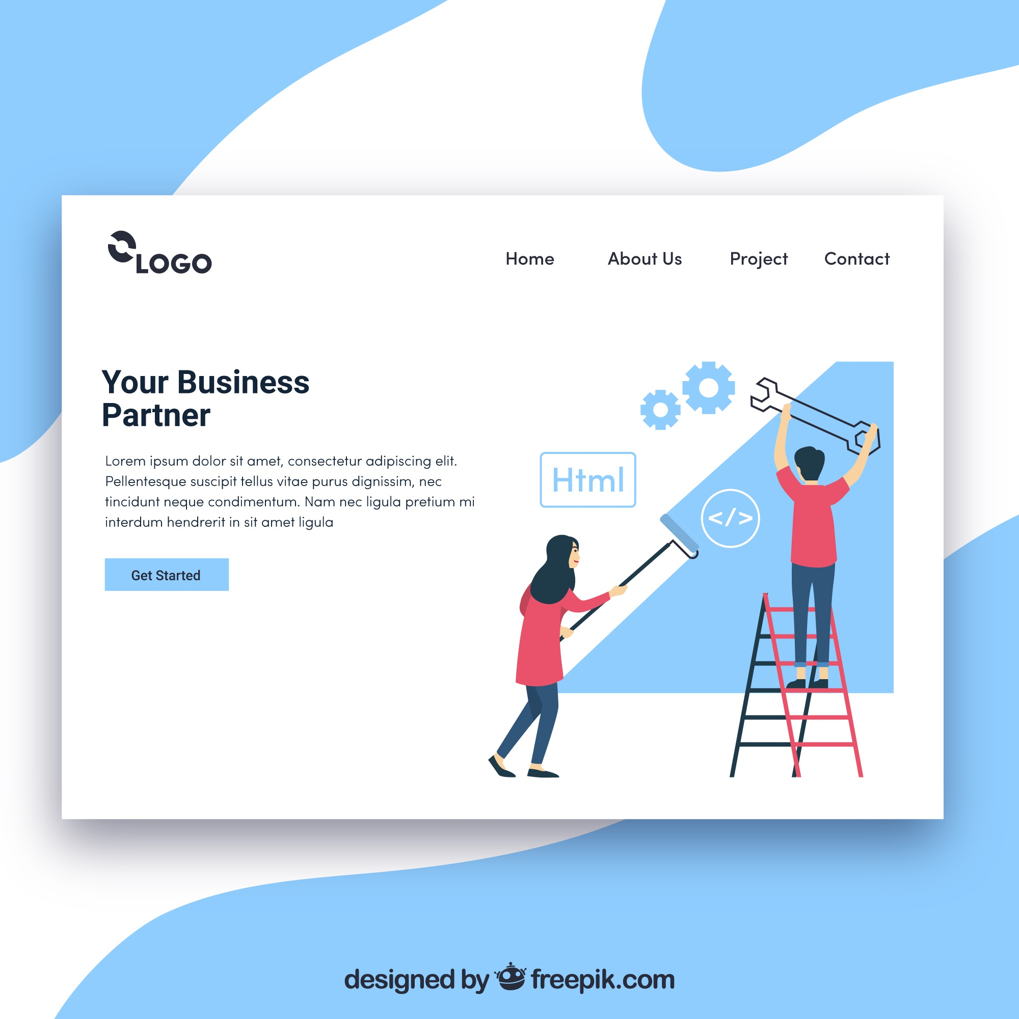 Landing page template with business concept