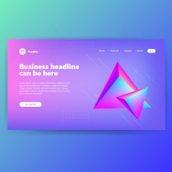 Landing page template with creative blue design graphic concept