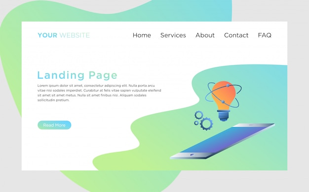 Landing page template with creative process illustration