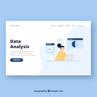 Landing page template with data analysis concept