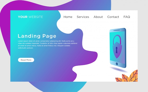 Landing page template with data protection illustration