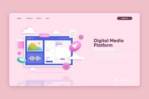 디지털 미디어 플랫폼이 포함 된 방문 페이지 템플릿
