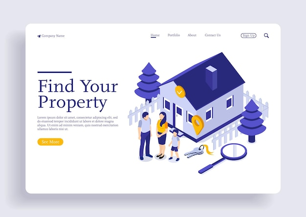 Landing page template with family standing at house on giant magnifier isometric concept