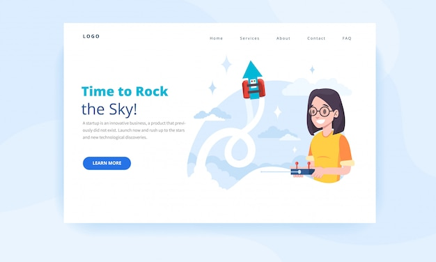Landing page template with a female engineer, controlling a robot.
