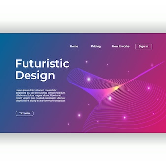 Landing page template with futuristic design theme multicolor