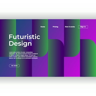 Landing page template with futuristic design