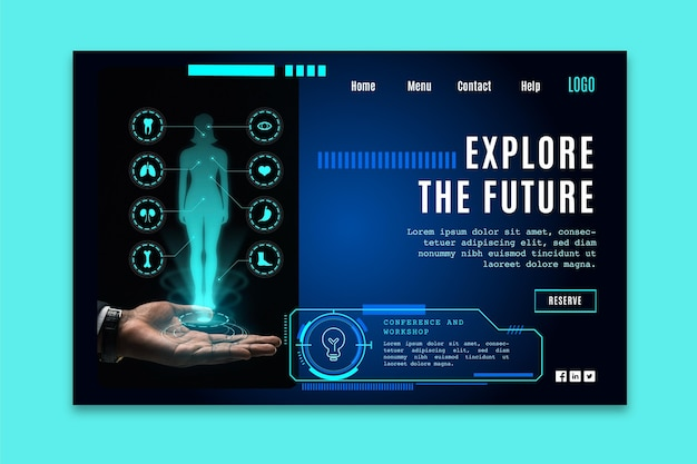 Landing page template with futuristic technology