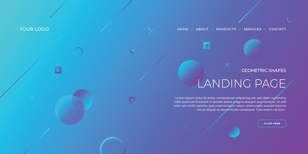 Landing page template with geometric design for business website design.