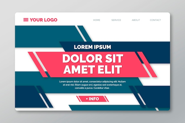 Landing page template with geometric lines