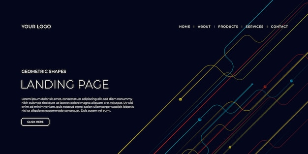 Landing page template with geometric shapes