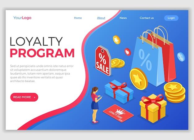 Шаблон целевой страницы с девушкой выбирает подарки на бонусы от программы лояльности. программы лояльности клиентов как часть маркетинга возврата клиентов. подарочная коробка, возврат, баллы, бонусы. изометрический