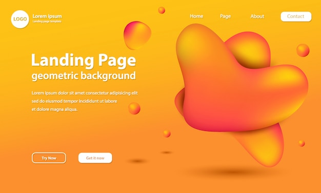 Landing page template with golden liquid shapes