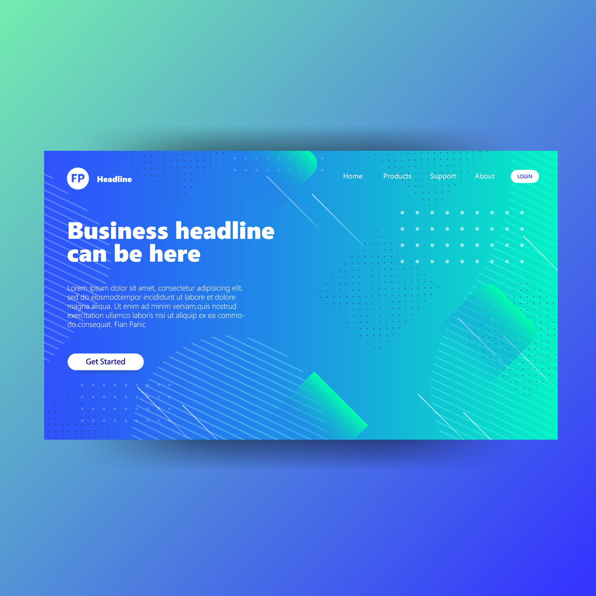 Landing page template with gradient green background website