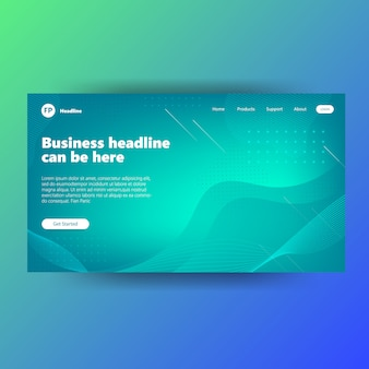 Landing page template with gradient green futuristic