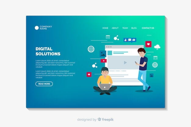 Landing page template with gradient shapes