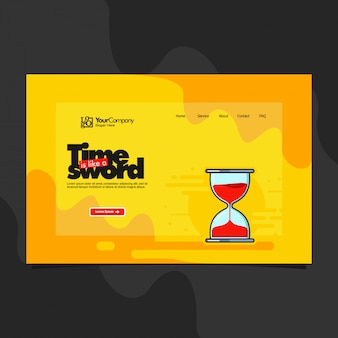 Landing page template with hourglass