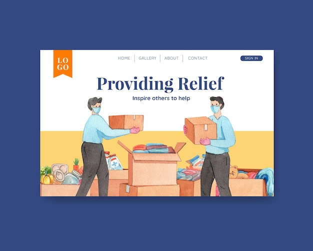 인도적 지원 개념, 수채화 스타일의 방문 페이지 템플릿