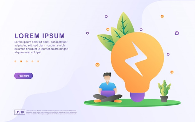 Landing page template with illustration of a businessman looking for a solution to a problem