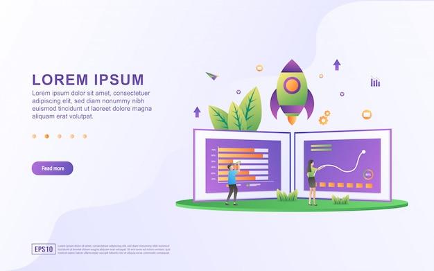 Шаблон целевой страницы с иллюстрациями, анализирующими движение диаграммы и развитие бизнеса