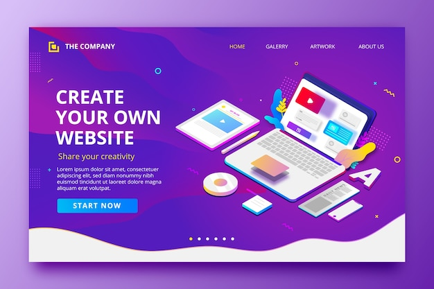 Landing page template with laptop