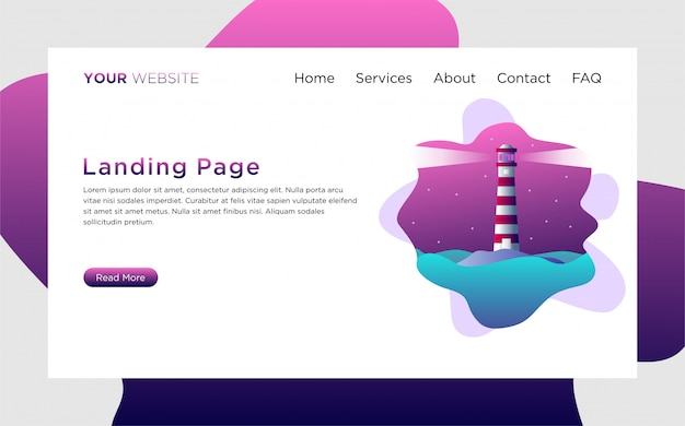 Landing page template with lighthouse illustration