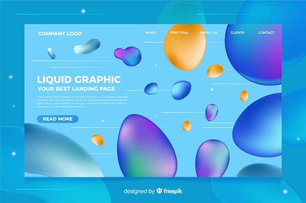 Landing page template with liquid shapes