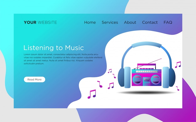 Landing page template with listening to music illustration