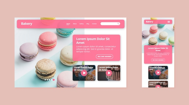 Landing page template with macarons