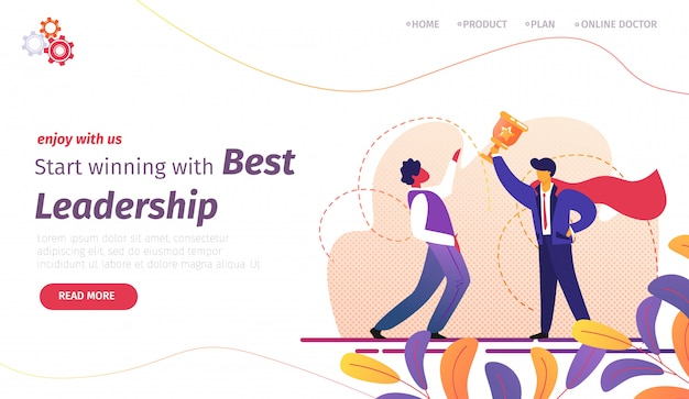 Landing page template with man in superhero red cloak holding gold goblet in hand and colleague