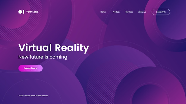Landing page template with modern abstract gradient design