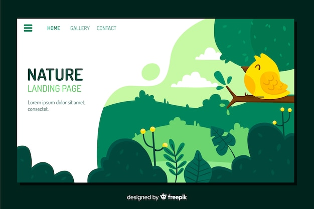 Landing page template with nature concept