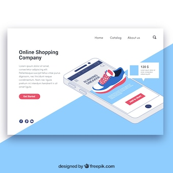 Landing page template with online shipping concept