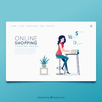 Landing page template with online shopping concept