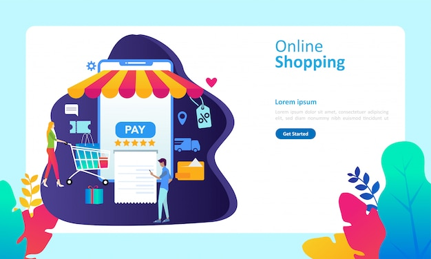 온라인 쇼핑 개념 방문 페이지 템플릿