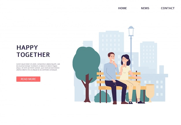 Landing page template with people in city park flat vector illustration isolated.
