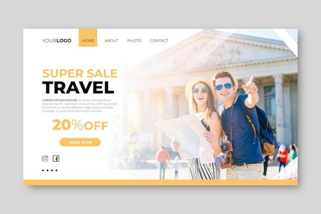 旅行販売のための写真付きのランディングページテンプレート