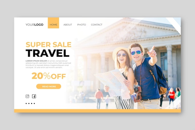 Landing page template with photo for travel sale