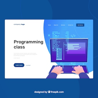 Landing page template with programming concept
