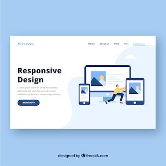 Landing page template with responsive design concept