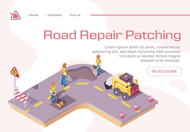 Landing page template with road repair, excavator cover hole in ground with concrete