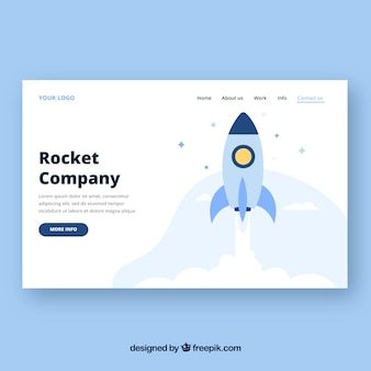 Landing page template with rocket concept
