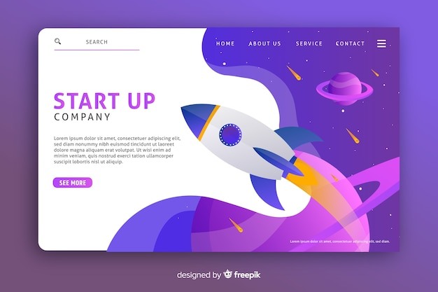Landing page template with a rocket