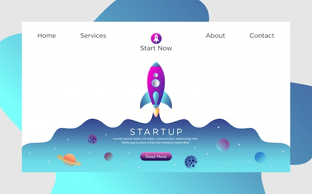 Landing page template with rocket