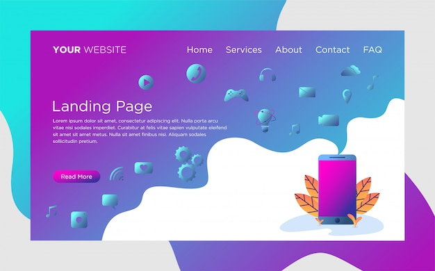 Landing page template with smartphone concept illustration