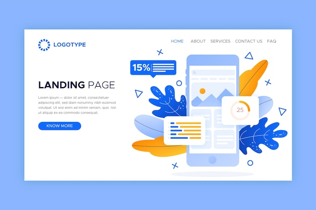 Landing page template with smartphone