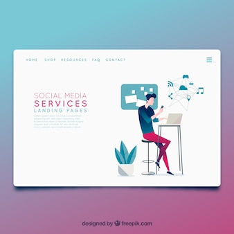 Landing page template with social media concept